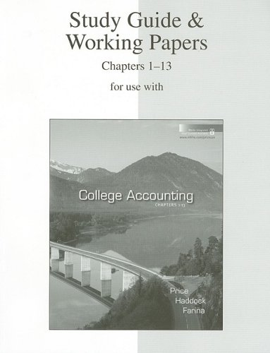 9780073365756: Study Guide & Working Papers Ch 1-13 to accompany College Accounting 12e Chapters 1-13