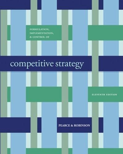 Formulation Implementation, and Control of Competitive Strategy: Robinson, Richard B.,