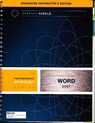 9780073368634: Microsoft Office Word 2007: A Professional Approach By Hinkle (Professional Approach) (Instructor's Edition) Edition: First