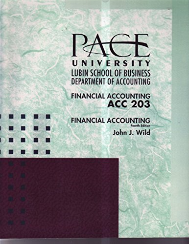 9780073372136: Financial Accounting ACC 203 Custom Pace University