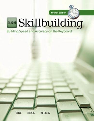 9780073372204: Skillbuilding: Text Only: Building Speed and Accuracy on the Keyboard (P.S. Keyboarding)