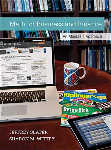 9780073377551: MATH FOR BUSINESS AND FINANCE: AN ALGEBRAIC APPROACH 1E