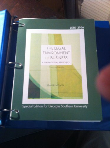 9780073399683: The Legal Environment of Business: A Managerial Approach (Special Edition for Georgia Southern University)