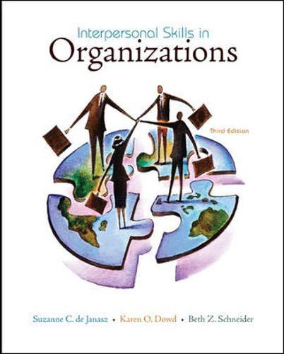Interpersonal Skills in Organizations: Suzanne de Janasz,