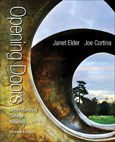 Opening Doors: Understanding College Reading: Elder, Janet, Cortina,