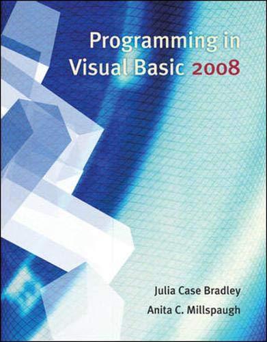 9780073517209: Programming in Visual Basic 2008