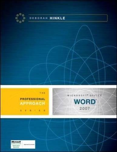 9780073519197: Microsoft Word 2007: A Professional Approach