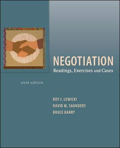 9780073530314: Negotiation: Readings, Exercises, and Cases