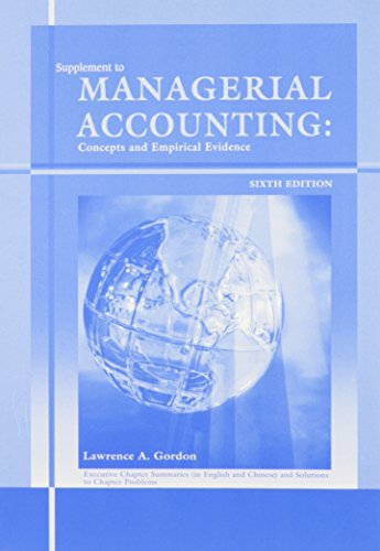 9780073542805: Supplement to Managerial Accounting Concepts and Empirical Evidence