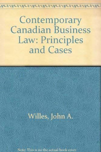 9780075490180: Contemporary Canadian Business Law: Principles and Cases