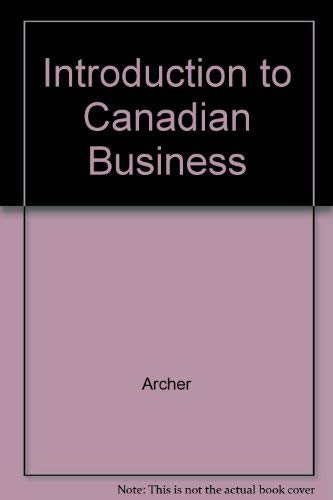 9780075490463: Introduction to Canadian Business