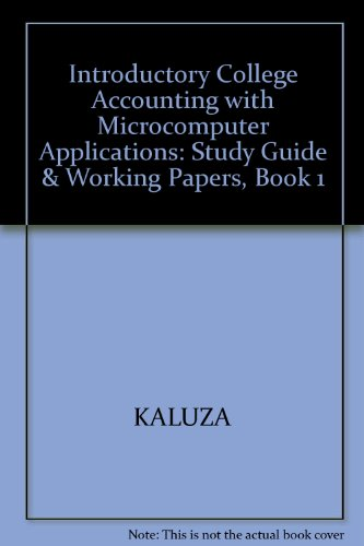 9780075495369: Introductory College Accounting with Microcomputer Applications: Study Guide & Working Papers, Book 1