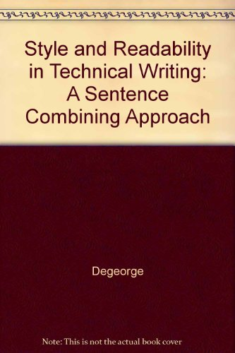 9780075543800: Style and Readability in Technical Writing: A Sentence-Combining Approach