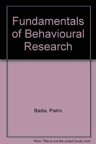 9780075548140: Fundamentals of Behavioural Research