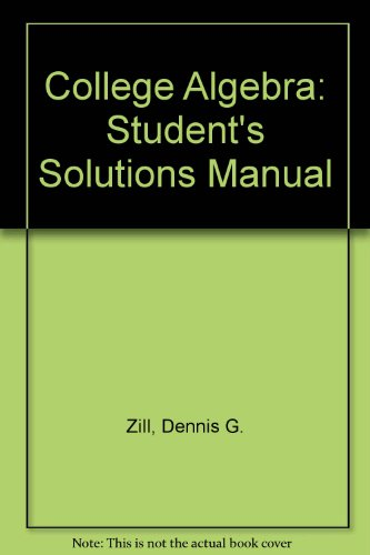 9780075570097: College Algebra: Student's Solutions Manual