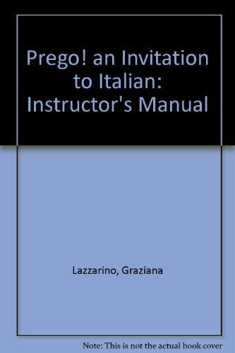 9780075574323: Prego! an Invitation to Italian: Instructor's Manual
