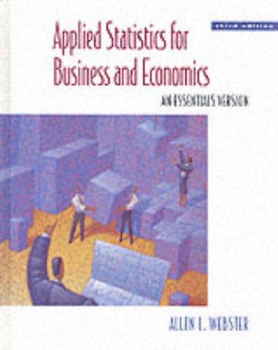 Applied Statistics for Business: Allen L. Webster
