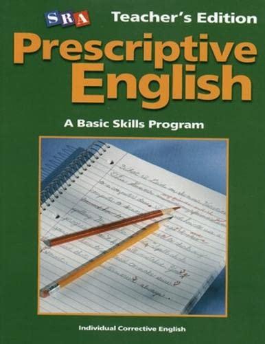 9780075689591: Prescriptive English - Teacher Edition Book A