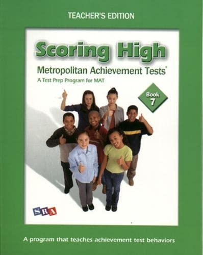 9780075761303: Scoring High on the MAT 8 - Teacher Edition with Poster - Grade 7