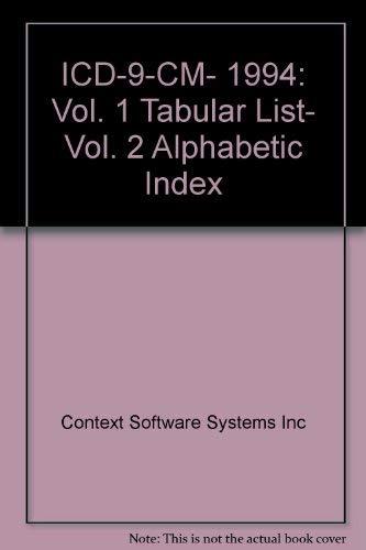9780076006618: ICD-9-CM, 1994: Vol. 1 Tabular List, Vol. 2 Alphabetic Index