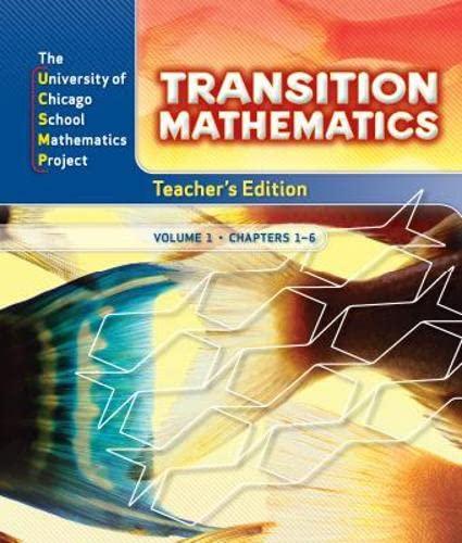 UCSMP Transition Mathematics: Teacher's Edition, Vol. 1,: Zalman Ususkin, Natalie