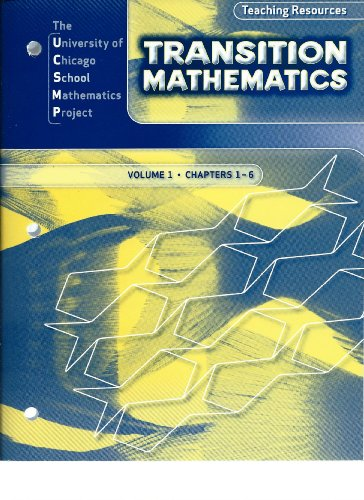 9780076185832: UCSMP Transition Mathematics, Teaching Resources: Volume 1, Chapters 1-6
