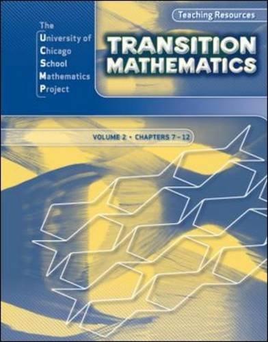 9780076185849: Transition Mathematics: Teaching Resources Volume 2 (UCSMP TRANSITION MATHEMATICS)