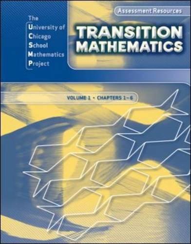 9780076185863: Transition Mathematics: Assessment Resources Volume 1 (UCSMP TRANSITION MATHEMATICS)