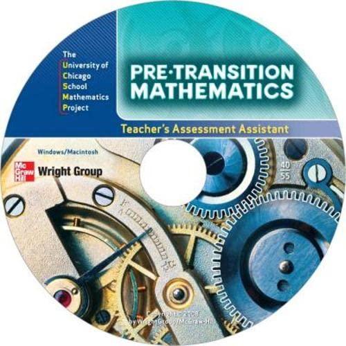 9780076189373: Pre-Transition Mathematics: Assessment Assistant (UCSMP Pre-Transition Mathematics)