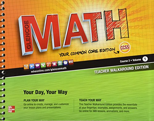 9780076619276: Glencoe Math, Course 2, Teacher Walkaround Edition, Volume 1