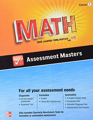 9780076623273: Glencoe Math, Assessment Masters, CCSS Common Core Edition, Course 1