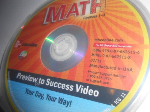 9780076625154: McGraw Hill Education - Math Course 1-3 - Preview to Success Video - Your Day Your Way - DVD