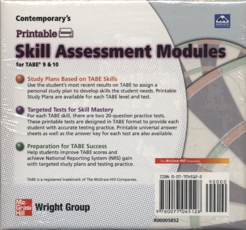 9780077045128: Contemporary's Printable Skill Assessment Modules for TABE 9 & 10 Levels E, M, D & A-Software (Contemporary's TABE 9 & 10 Software)