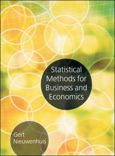 9780077109875: Statistical Methods for Business and Economics (UK Higher Education Business Statistics)