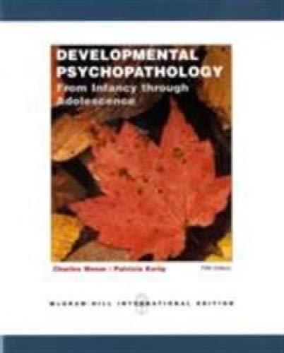 developmental psychopathology from infancy through adolescence pdf