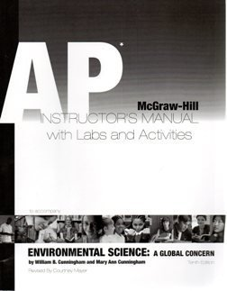 9780077226374: 2008 McGraw Hill Environmental Science A Global Concern AP Instructor's Manual with Labs and Activit