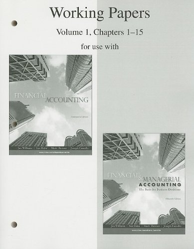 9780077243852: Working Papers, Volume 1, Chapters 1-15 to accompany Financial Accounting 14e, and Financial & Managerial Accounting 15e