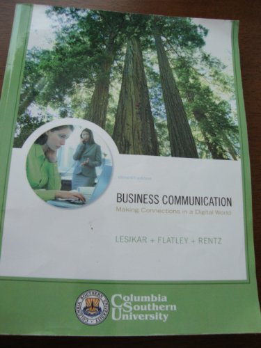 9780077262402: Business Communication (Making Connections in a Digital World, Columbia Southern University)