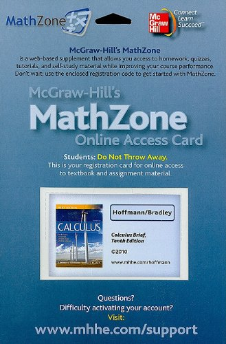 9780077263492: MathZone Access Card for Calculus for Business, Economics, and the Social and Life Sciences, Brief (McGraw-Hill's MathZone)