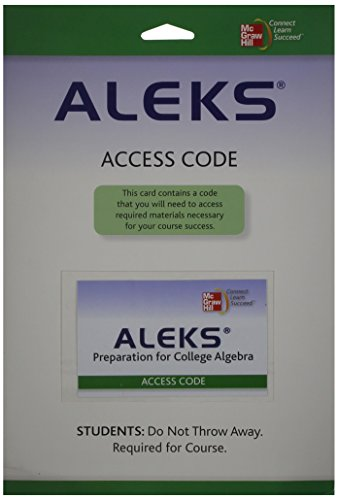 9780077265564: ALEKS Prep Access Card 6 Weeks for College Algebra