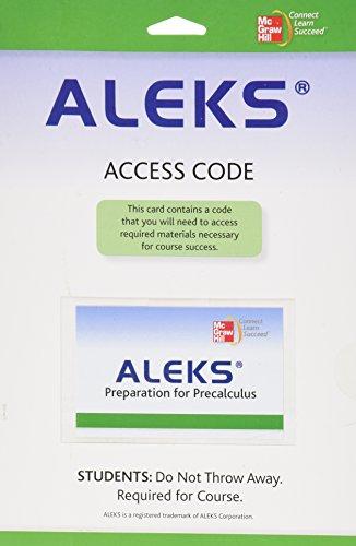9780077265588: ALEKS Prep Access Card for Precalculus