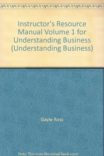 9780077268398: Instructor's Resource Manual Volume 1 for Understanding Business (Understanding Business)