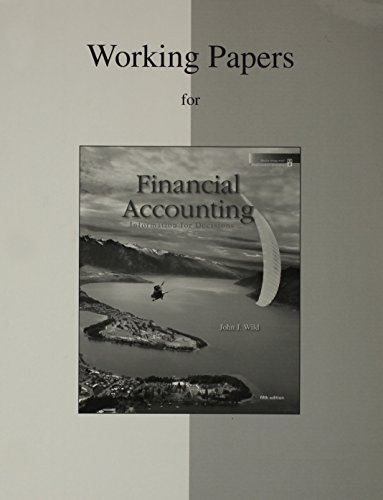 9780077268992: Working Papers to accompany Financial Accounting