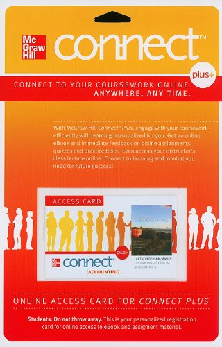 9780077269180: Connect Access Card for Fundamentals of Cost Accounting (McGraw Hill Connect (Access Codes))