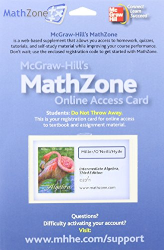 9780077296438: MathZone Access Card for Intermediate Algebra