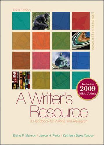 9780077300753: A Writer's Resource (spiral-bound) 2009 MLA Update, Student Edition