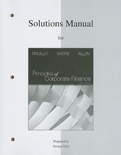 9780077316457: Solutions Manual to Accompany Principles of Corporate Finance