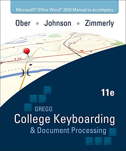 9780077319373: Microsoft Office Word 2010  Manual to accompany Gregg College Keyboarding & Document Processing, 11th Edition
