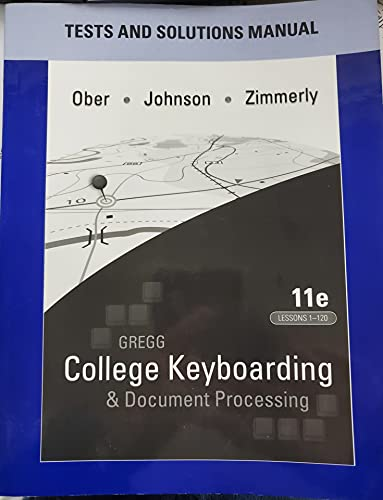 9780077319397: Gregg College Keyboarding & Document Processing Tests and Solutions Manual