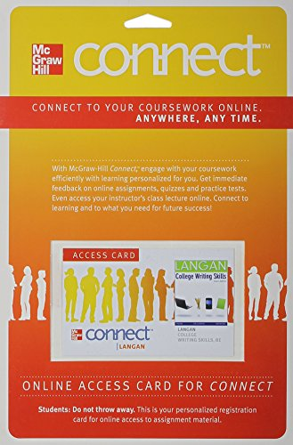 9780077348502: Connect Langan 2.0 Access Card for College Writing Skills with Readings